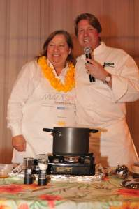 Nelly Farra with chef Stephen Lewandowski at the 2008 Interactive Dinner