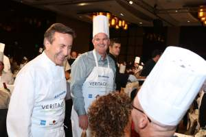 Chef Daniel Boulud getting interactive with guests at United Way's incoming board chair Gene Schaefer's table